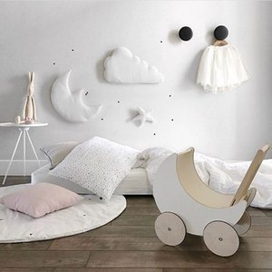 3 PCS Star Moon Cloud Cotton Wall Hanging Doll Baby Comforting Plush Stuffed Toy Kids Room Decoration