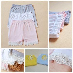 2015 mode filles pantalons de sécurité coréen pur coton dentelle leggings courts collants jolis shorts enfants blanc rose gris MOQ: 20pcs SVS0198 #