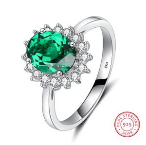 Espumoso joyería de moda lindo princesa anillo puro 100% plata de ley 925 Esmeralda CZ diamante piedras preciosas mujeres de la boda anillo de regalo de la boda