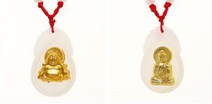 Guanyin Maitreya incrusté de jade blanc de jade Pendentif en or avec pendentif collier fille ange Jinmao A4