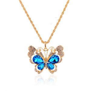 Retro Luxury Jewelry Colorful Butterfly Pendant Vintage maglione catena collana Vintage Blue Rose Peacock collane con Crystal Diamond