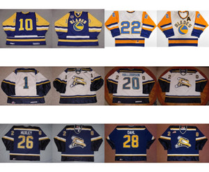 Custom WHL Saskatoon Blades 20 Derek Halldorson 26 Adam Huxley 28 John Dahl 10 Nobr 22 Kelly Chase Hockey sobre hielo Jerseys Goalit Cut