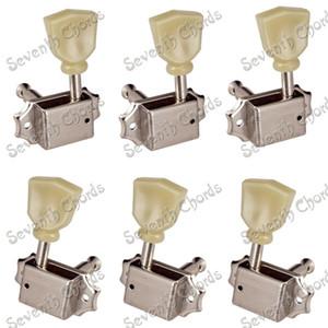 Bir Set Nikel Deluxe Dize Tuning Kazıklar Tuner Makine Başkanları Akustik Elektro Gitar Değiştirme için -3L3R-2L4R-4L2R