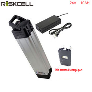 Batteria ai pesci d'argento agli ioni di litio 24V 10Ah a scarica inferiore per bicicletta elettrica 250W 300W 350W con caricatore e bms