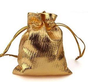 Venta al por mayor-50 unids / lote bolsas de regalo de satén plateadas o chapadas en oro con bolsas de la bolsa de regalo de la joyería del cordón7 * 9cm