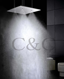 20 Inch Ceiling Mounted Brushed Atomizing And Rainfall Bathroom Shower Head With Arms L-20W