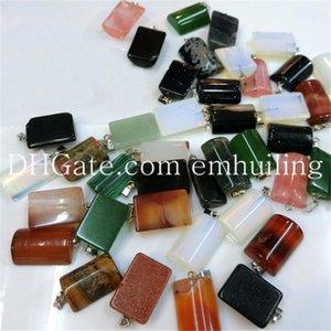 10 pezzi di cristallo di quarzo naturale ciondolo liscio mezzo tubo cilindro misto colore casuale pietra naturale perline pendente di fascino 21 * 15mm per gioielli fai da te