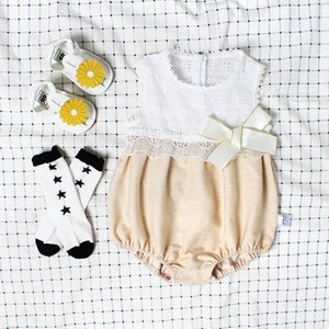 Розничная новорожденных девочек лето боди любовь Сердце кружева рукавов Принцесса комбинезоны Детская одежда бесплатная шляпа EG012