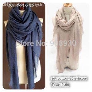Gros-New Scarf 50% coton Franges Viscose Plain Maxi hijabs Femmes Châle Solide Fashion Sarong Dames Musulman Head Wrap Soft Scarves TR