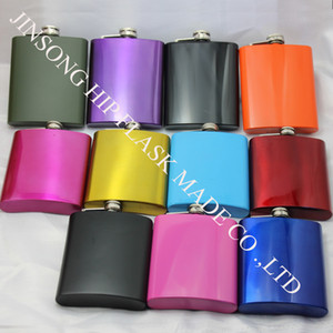 Karışık Renkli paslanmaz çelik 7 oz cep şişesi, 12 renk seçebilirsiniz, kişiselleştirilmiş logo kabul