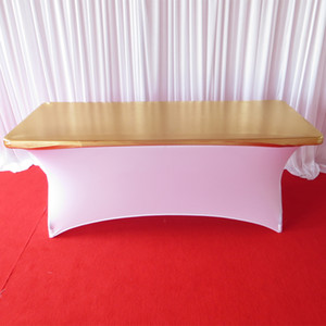 6FT L* 30''W Gold Metallic Bronzing Elastic Spandex Table Cloth Topper For Wedding,Banquet,Hotel Decoration Use