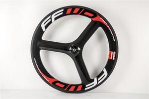 65MM Tri Speichen vorn + hinten Carbon Laufrad 700C 3 Speichen Carbon-Räder Straßen-Fahrrad 3K glatt Räder