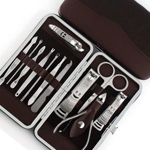 12pcs Maniküre Set Pediküre Schere Pinzette Messer Ohr Pick Utility Nail Clipper Kit, Edelstahl Nagelpflege Tool Set