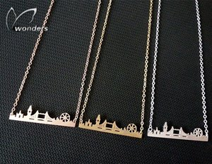 Wholesale-2015 Skyline Fashion Jewelry Gold Silver Rose Gold Friendship Gift Stainless Steel Cityscape London Necklace Pendant