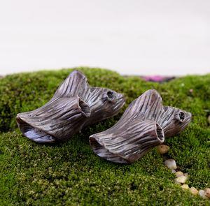 6 pcs Artificielle mini tronçon de bois mort fée jardin miniatures gnome mousse terrariums de résine figurines pour la maison décoration