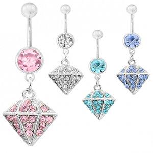 Umbigo de aço umbigo Anéis Body Piercing Jóias Dangle Acessórios de Moda diamante encanto Umbilical fivela brincos Nails