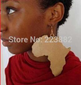 Frete grátis 2014 Venda Quente Boa Madeira África Mapa Brinco para As Mulheres pode aceitável cor misturada ordem