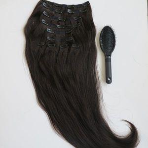 160g 20 22inch Brazilian Clip in Hair Extension 100 % 휴먼 헤어 1B # / 오프 블랙 레미 스트레이트 헤어 세트 10pcs / 세트 프리 빗