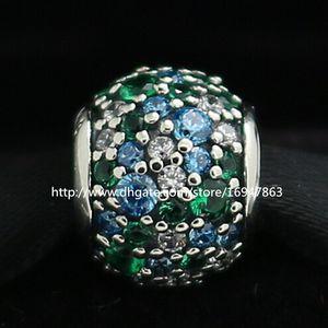 Nuevo 100% S925 Plata de ley Pave Ocean Mosaic Charm Bead con Cz Se adapta a Pandora Joyas Europeas Pulseras Collares Colgantes