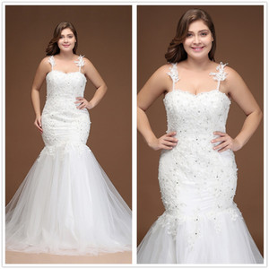 2018 Plus Size New Spaghetti Straps Lace Mermaid Wedding Dresses Tulle Applique Beaded Illusion Back Court Train Wedding Bridal Gowns CPS296
