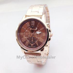 Alta calidad New Geneva Best Seller reloj de cuarzo Relogio números romanos banda de oro reloj analógico con reloj colorido Dial