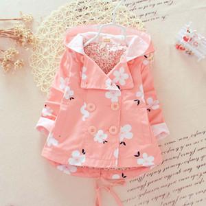 Fleur Breasted Manteau Enfants Trench-Coats Korean Girl Dress Enfants Trench-Coat 2015 Automne Manteau Filles Tops Enfant Vêtements Bébé Vêtements C11740