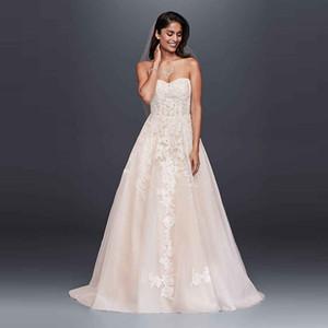 WG3861 Robes de mariée 2020 dentelle légère Champagne conception chérie A-ligne Appliques Birdal Robes Custom Made Traîne