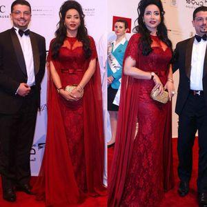 Charming 2019 Illusion Vestidos Burgund Spitze Chiffon Vintage Meerjungfrau Abendkleider Mit Ärmel Saudi-Arabien Trompete Abendkleider