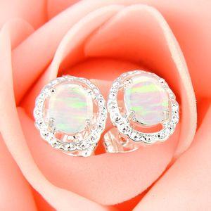 Atacado 3 pares / lote mãe presente branco Oval Fire Opal Crystal Gemstone 925 Sterling Silver Banhado Eua Brincos De Casamento Do Parafuso Prisioneiro