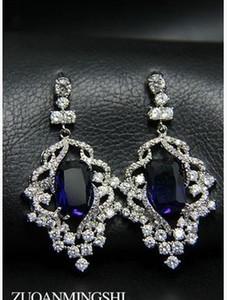 blu * diamante bianco intarsio perline di cristallo perla fiore orecchini della signora (4/5 * 2.1cm) (myyhmz)