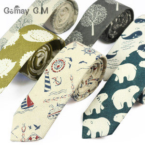 Neue Großhandelsdruck Krawatten Gelegenheits Narrow Krawatte Krawatten für Männer Hip-Hop-Party Blumenbaumwolldünne Tie Krawatte