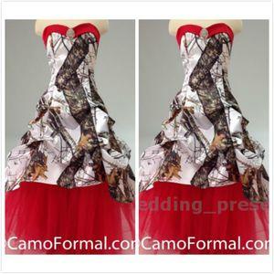 Realtree Beyaz Gelinlik Kırmızı Tül Kristal Camo Gelin Elbiseler Uzun Gelinlikler ile Pick-up 2016 Vestidos De Novia