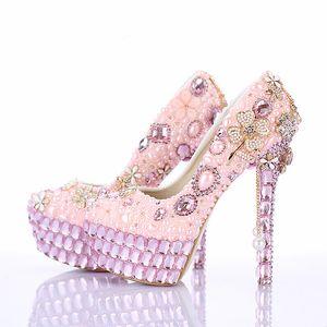 2019 nouvelle conception magnifique perle rose chaussures de mariage plate-forme bout rond chaussures de robe formelle à la main charmant mariée haute talons
