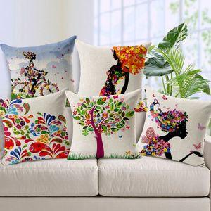 Yastık Minder Kapak Karikatür Küçük Kız Taze Çiçekler Atmak Yastık Kılıfı Renkli Nefes Pamuk Keten Fundas de Almohadas Cojine