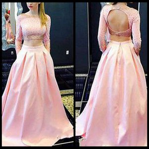 Hot Pink Two Pieces Prom Dresses 2015 Charming Scoop Neck Satin Sexy espalda abierta Bling con cuentas de manga larga Prom Party Dresses