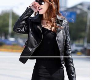 도매 -2014 새로운 가죽 자켓 여성 겨울 여성 코트 짧은 지퍼 오토바이 자켓 Pu 가죽 의류 겉옷 무료 배송 브라질