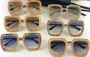 NUEVAS Mujeres Diseñador Gafas de sol 0115 Marco cuadrado Mosaico Cristal brillante Colorido Diamante Calidad superior UV400 Lente 0115s con caja original