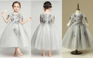 Grey Tulle Long Sleeves Handmade Flowers A Line Girls Pageant Dresses Jewel Neck Beads Kids Girls Birthday Formal Gown 2018