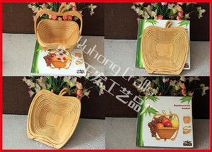 Bamboo Folding Fruit Veg Basket, Foldable Fruit Veg Bowl Basket Apple Design