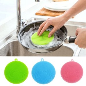 Round Shape Dish Washing Brush Washing Fruit Vegetable Multi-purpose Food Grade Silicone Cleaning Dishwashing Brush