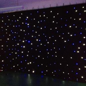 El color de la estrella del LED llevó al curtian de la estrella para los efectos luminosos llevados color azul blanco del fondo de la etapa del partido