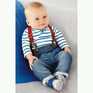 2015 Baby boys Striped denim suspender jumpsuits suits 2pcs sets(tshirt+jeans) Boys tracksuits infant clothes Children clothes CY132