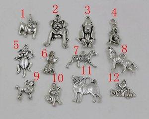 Sıcak satış ! 120 adet Antiqued Gümüş Karışık Köpek Charm Kolye Takı DIY 12-tarzı