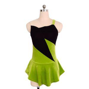 Black And Green Girls Simple Training Dress Skating Sleeveless Good Quality Dancing Dress 2017 Free Shipping