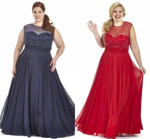 2021 azul marinho vermelho chiffon plus size vestidos de baile além de ocasião especial vestido bling lantejoulas sheer tripulações manga plus size vestidos de noite