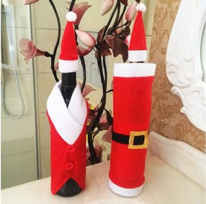 Santa Suit Xmas Prop Wine Bottle Cover Ornament Christmas Decoration Craft Christmas Candy Bag Gift CT06