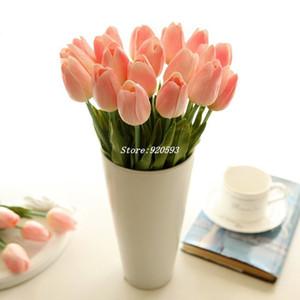 Trasporto all'ingrosso-libero 21PCS / LOT pu mini fiore del tulipano tocco reale fiore di cerimonia nuziale fiore artificiale fiore di seta decorazione della casa