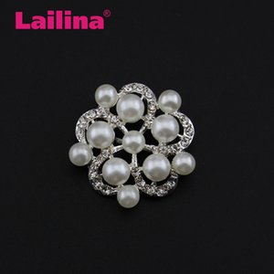 20pcs lot 26mm Rhinestone and Pearl Button for Wedding Clothes Decoration