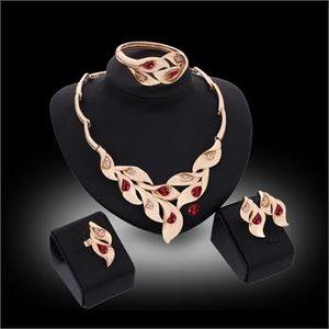 Set di gioielli africani placcato oro 18k gemma di cristallo collana di nozze braccialetto orecchino anello set di gioielli 3 colori
