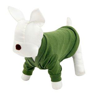 Ropa para perros al por mayor y para mascotas Suéter Cat Puppy Shirt Ropa de diseño de moda Ropa azul verde sólida 5 tamaños Envío gratis